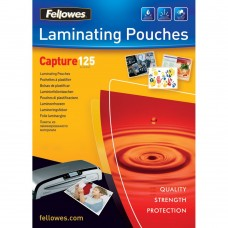 Fellowes 100 Pack of 54x86 125 Micron Glossy Laminating Pouches (53063)