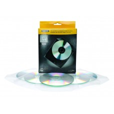 Fellowes 100 Pack of Clear CD/DVD Plastic Wallets (98312)