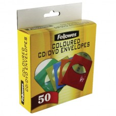 Fellowes 50 Pack of Coloured CD Paper Envelopes with Clear Window (90689)