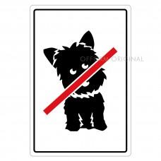SIGN FOIL 9x13.5cm NO DOGS