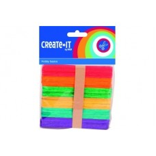 CRAFTS ICE STICKS WOODEN COLOURED x50