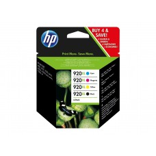 HP Original 4 Pack of High Yield Black, Cyan, Magenta and Yellow 920XL Ink Cartridges (C2N92AE)